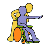 carer with wheelchair stickmen